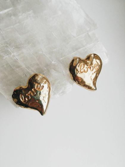 Клипсы-сердца с гравировкой LOVE, haute couture, 1980-90е, Франция