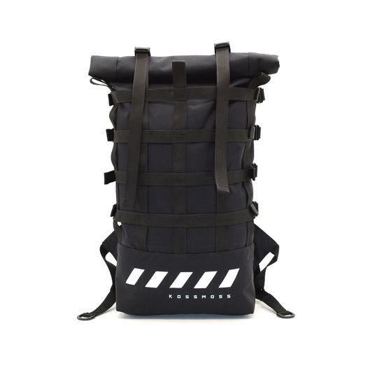 Черный рюкзак со стропой / Ролл топ Сумка / Black roll top backpack