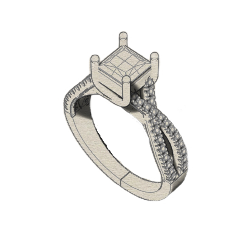 Drawing of a twist diamond engagement ring