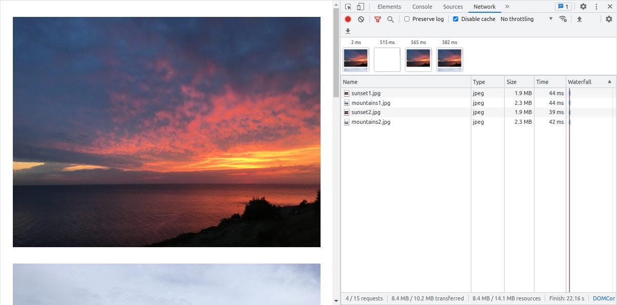 Unoptimized Next.js Images in Chrome Dev Tools