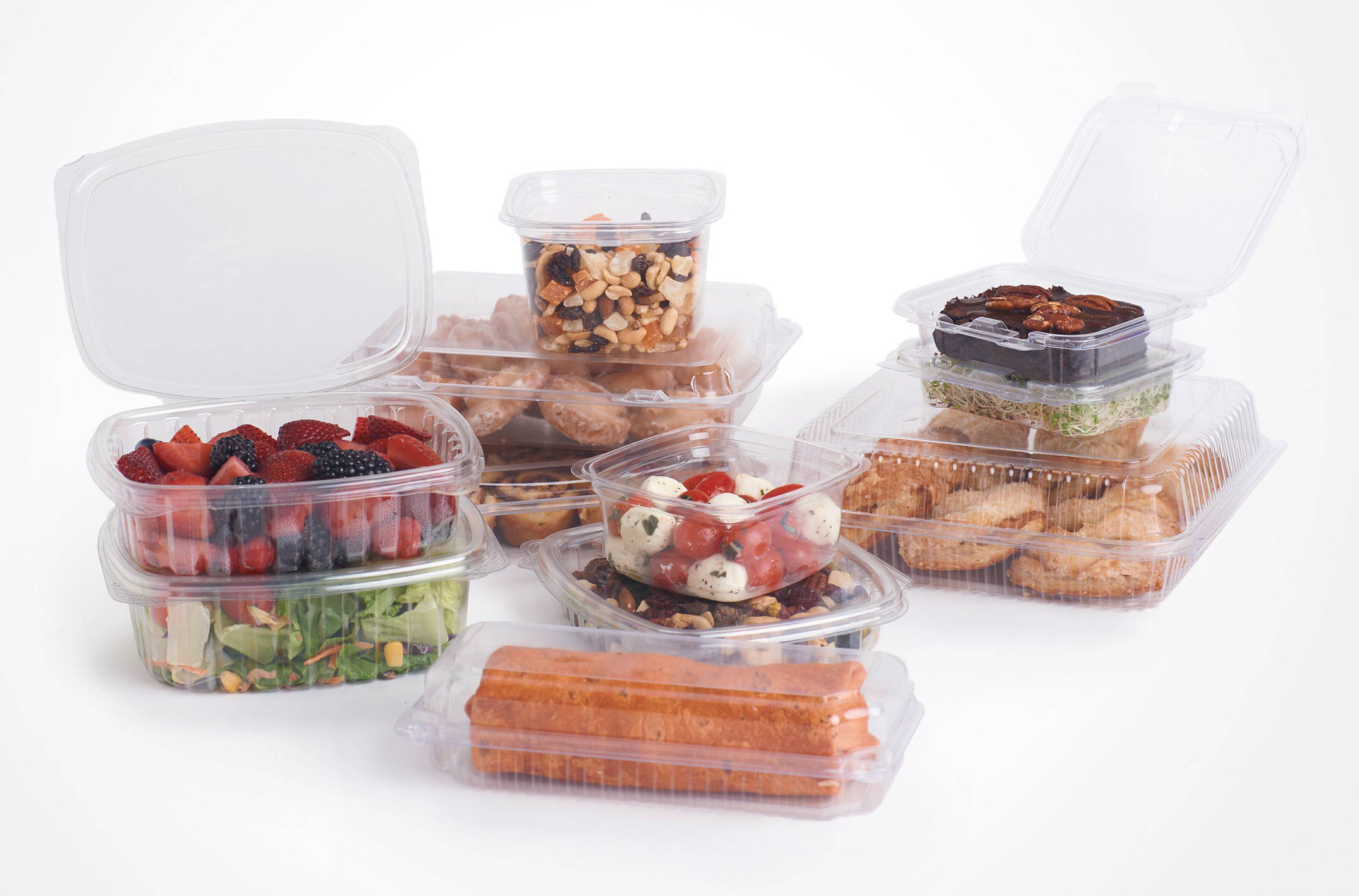 compostable deli containers filled with food