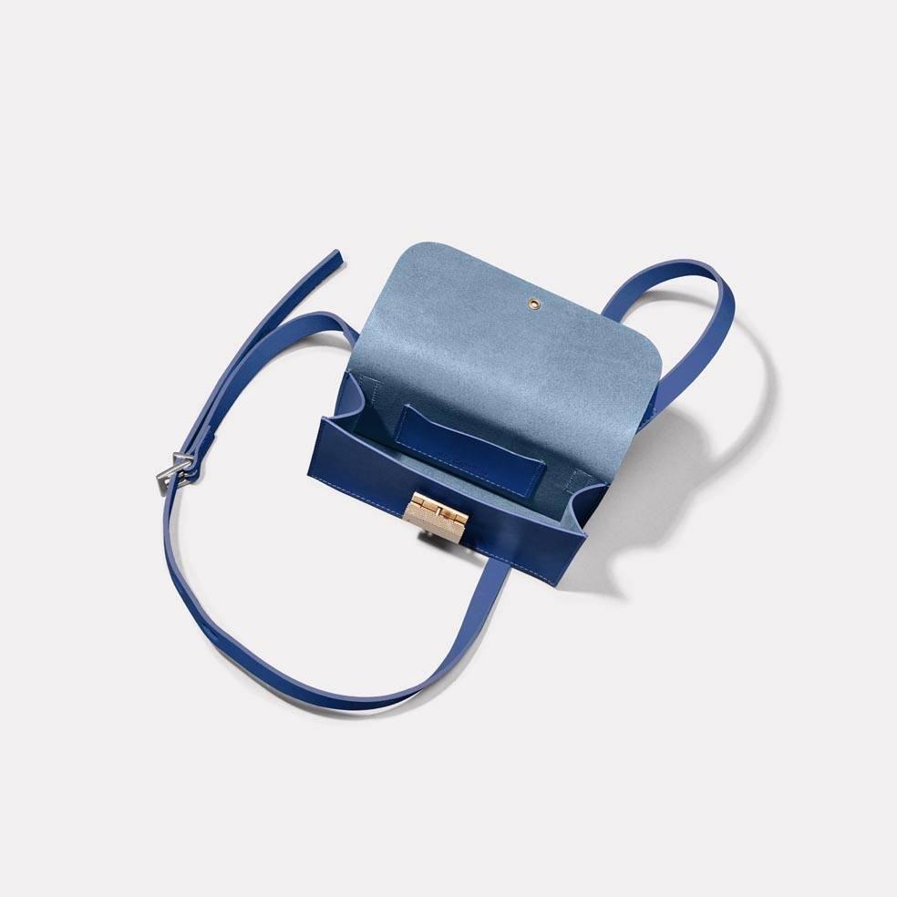 Mini Lock Boundary Leather Crossbody Lock Bag in Blue Inside