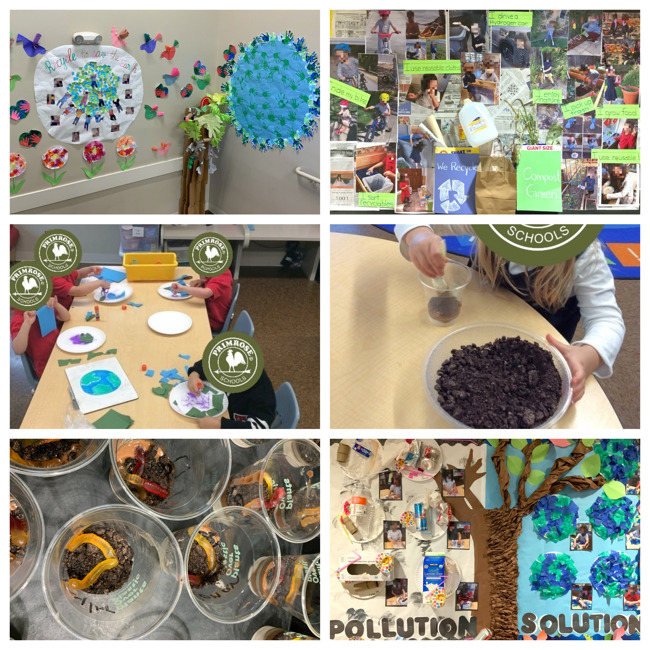 Collage of staircase decorations, bulletin board decorations, and earth themed cooking class