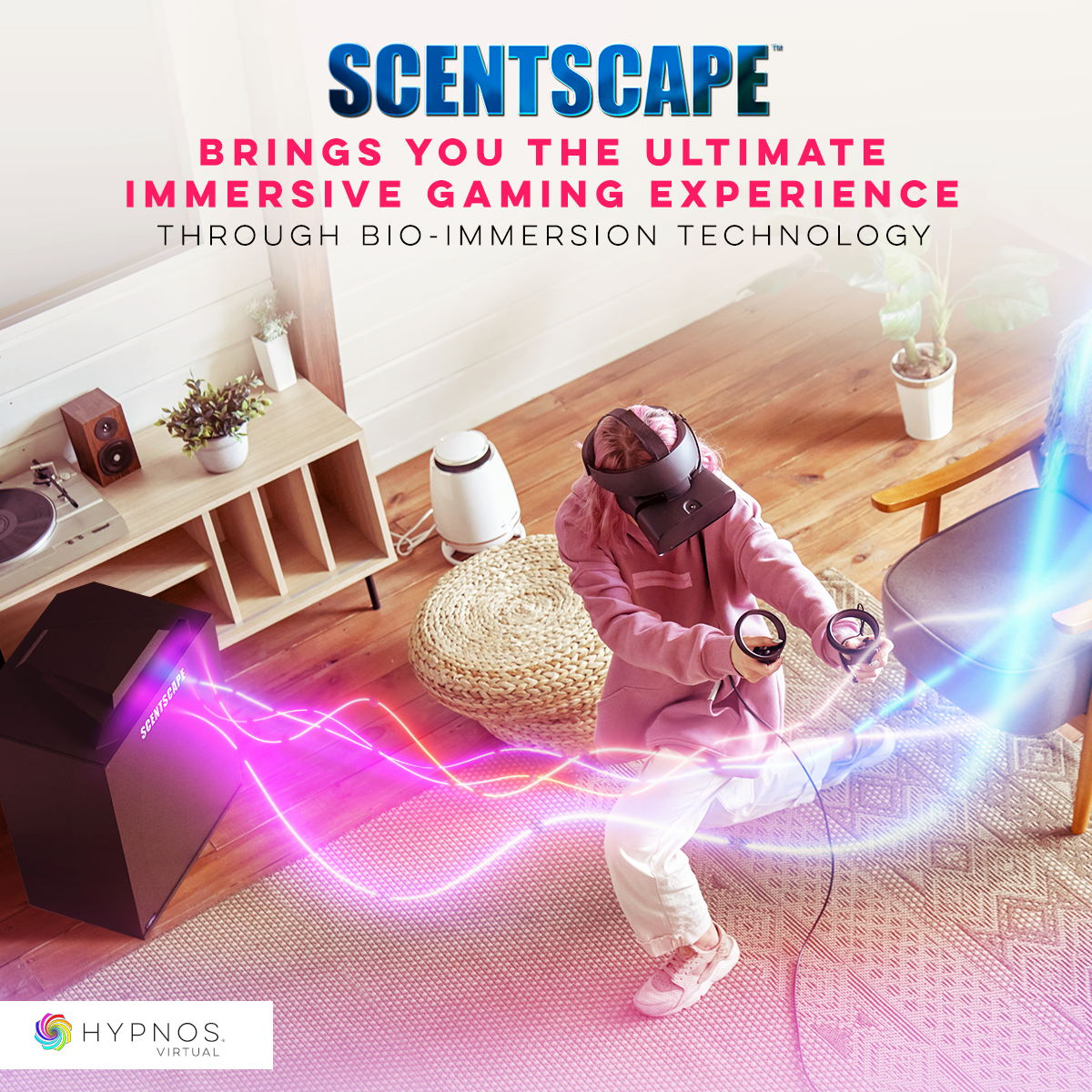 Hypnos has built the cross-platform infrastructure and trade-secret coding functionality for sophisticated real-time game play movements. The Scentscape software can tell where the players head and hands to continually adjust aroma volumes and triggers within the 3D CGI worlds of Video Games. Hypnos has built the cross-platform infrastructure and trade-secret coding functionality for sophisticated real-time gameplay movements. The Scentscape software reads where the player's head and hands are in 3D space to continually adjust aroma volumes and triggers within the 3D CGI worlds of Video Games.