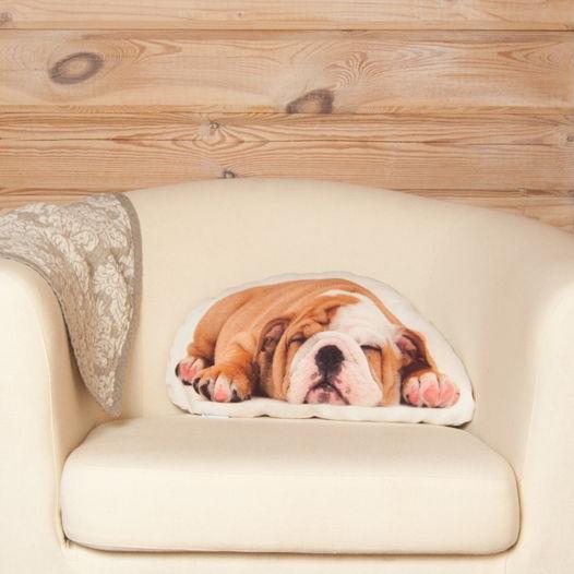 Подушка  Бульдог – льняная декоративная подушка в виде спящего щенка бульдога