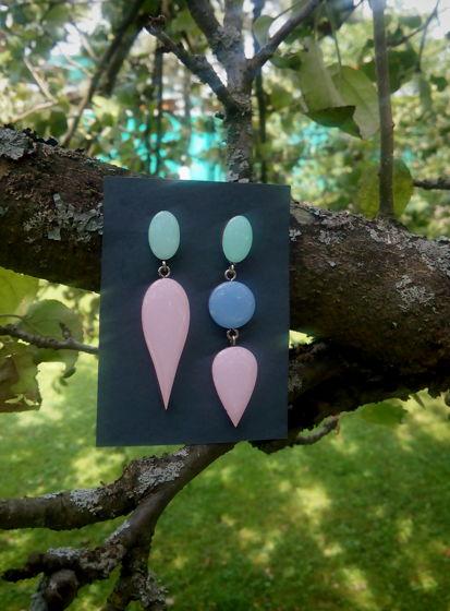 Серьги асимметрия из дерева Solomania