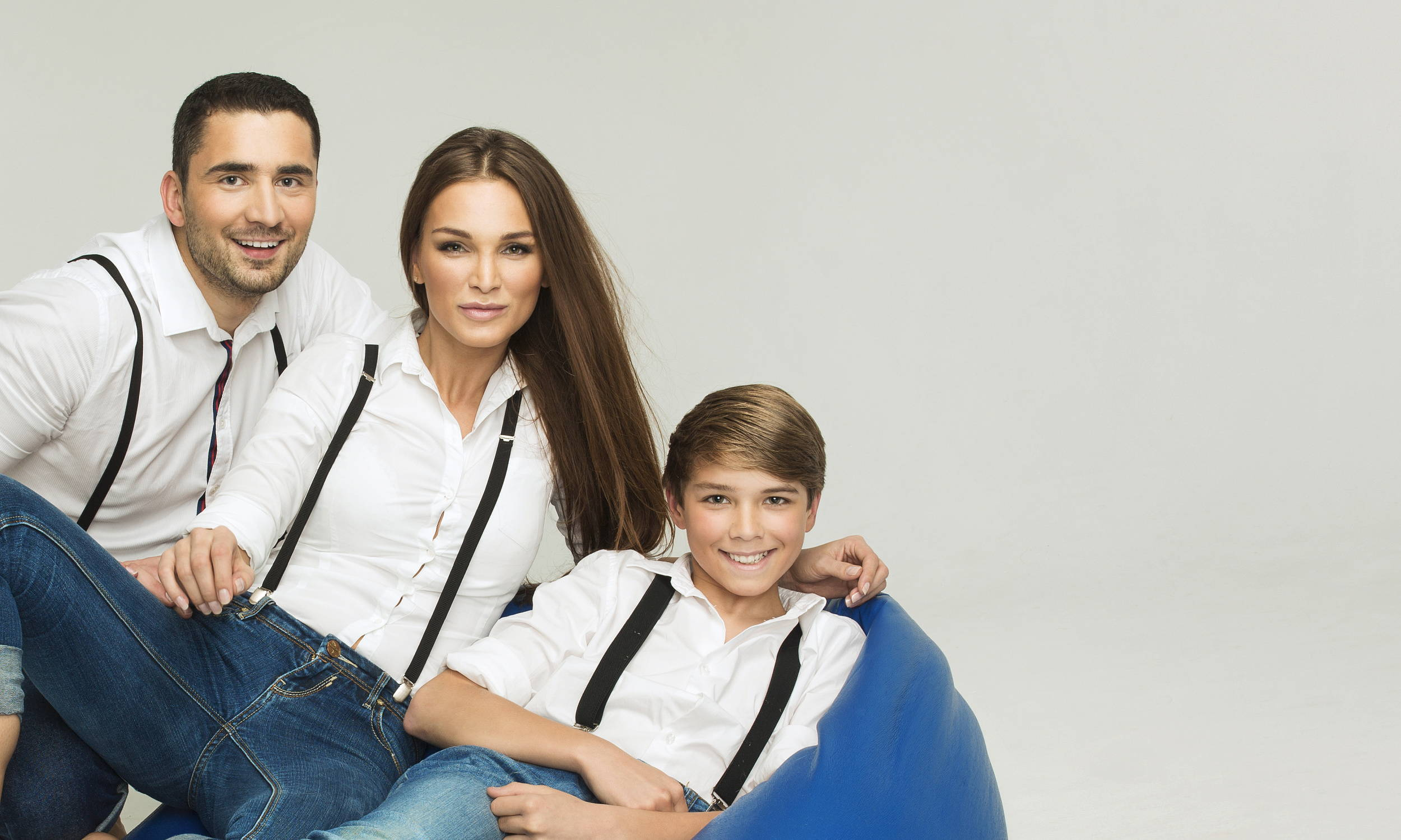 Family Wearing Suspenders