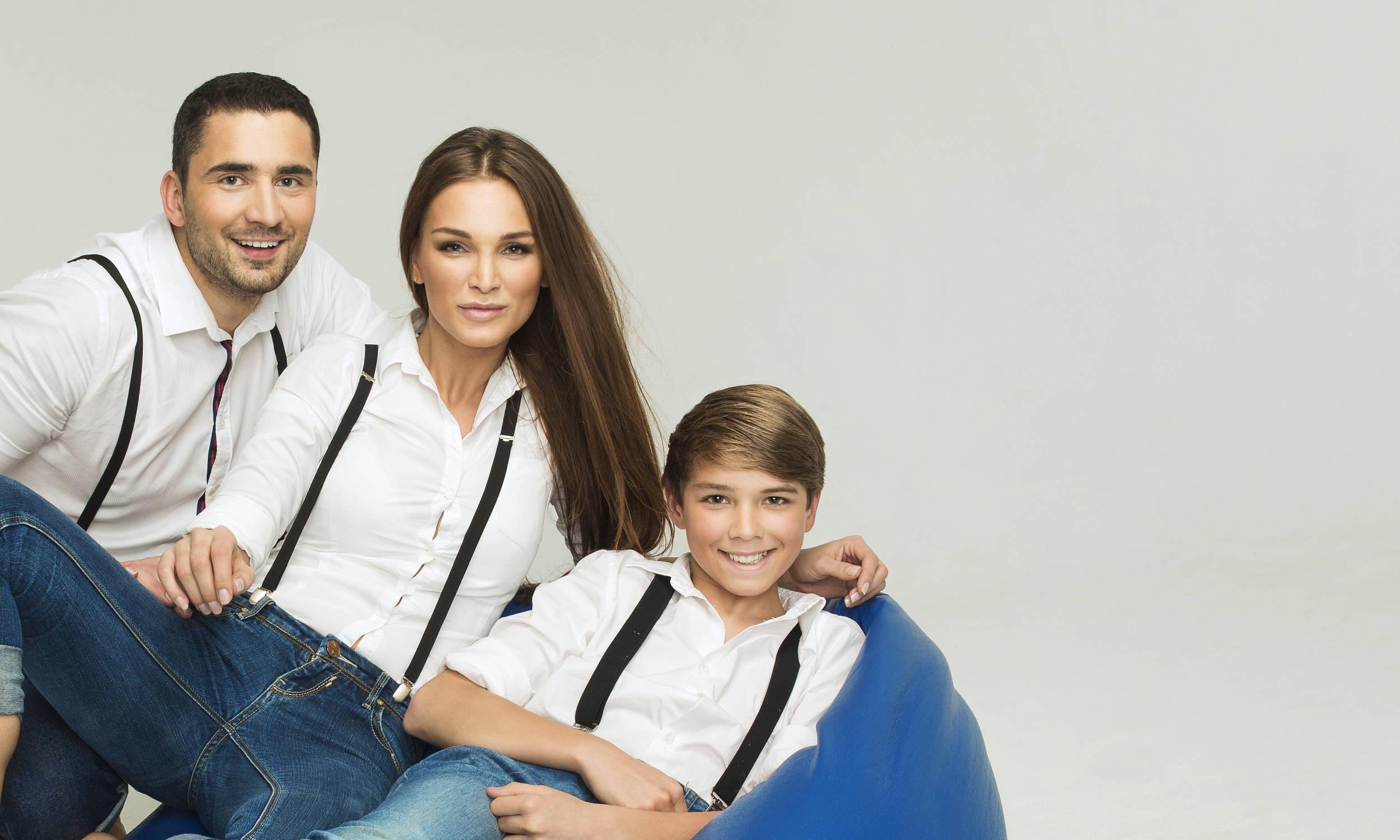 Family Wearing Suspenders