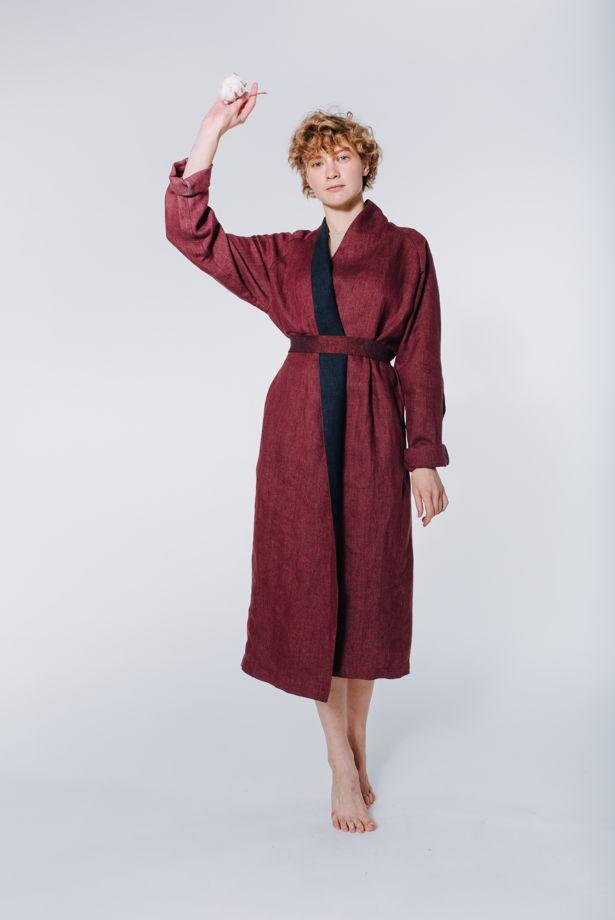 Летнее льняное пальто - бордо #86