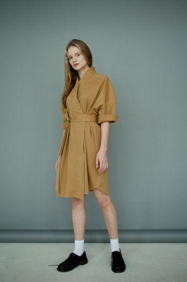 Платье - кимоно, горчичное