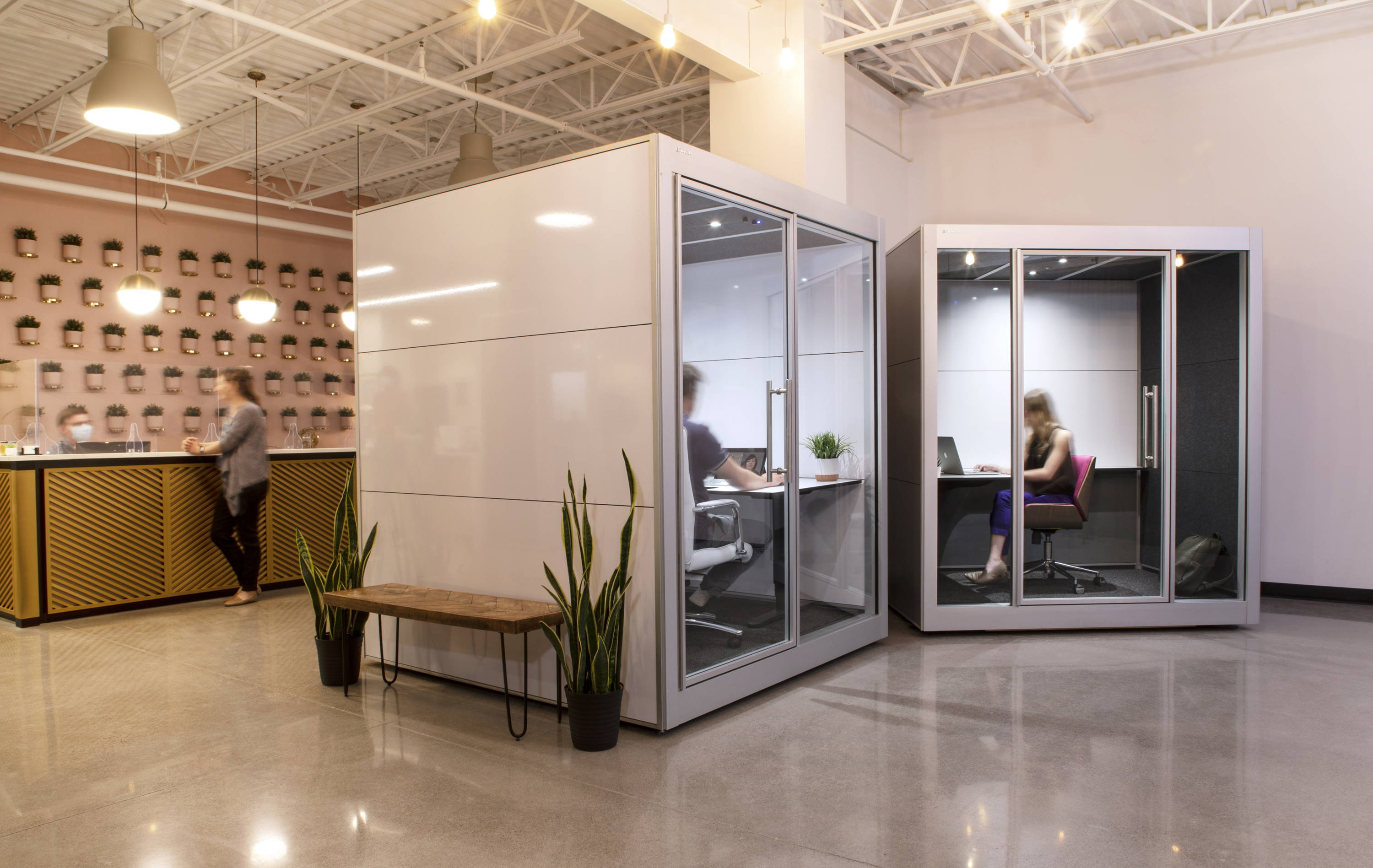 Office pods at Fractal Coworking Space in Kingston, Ontario - SnapCab Workspace