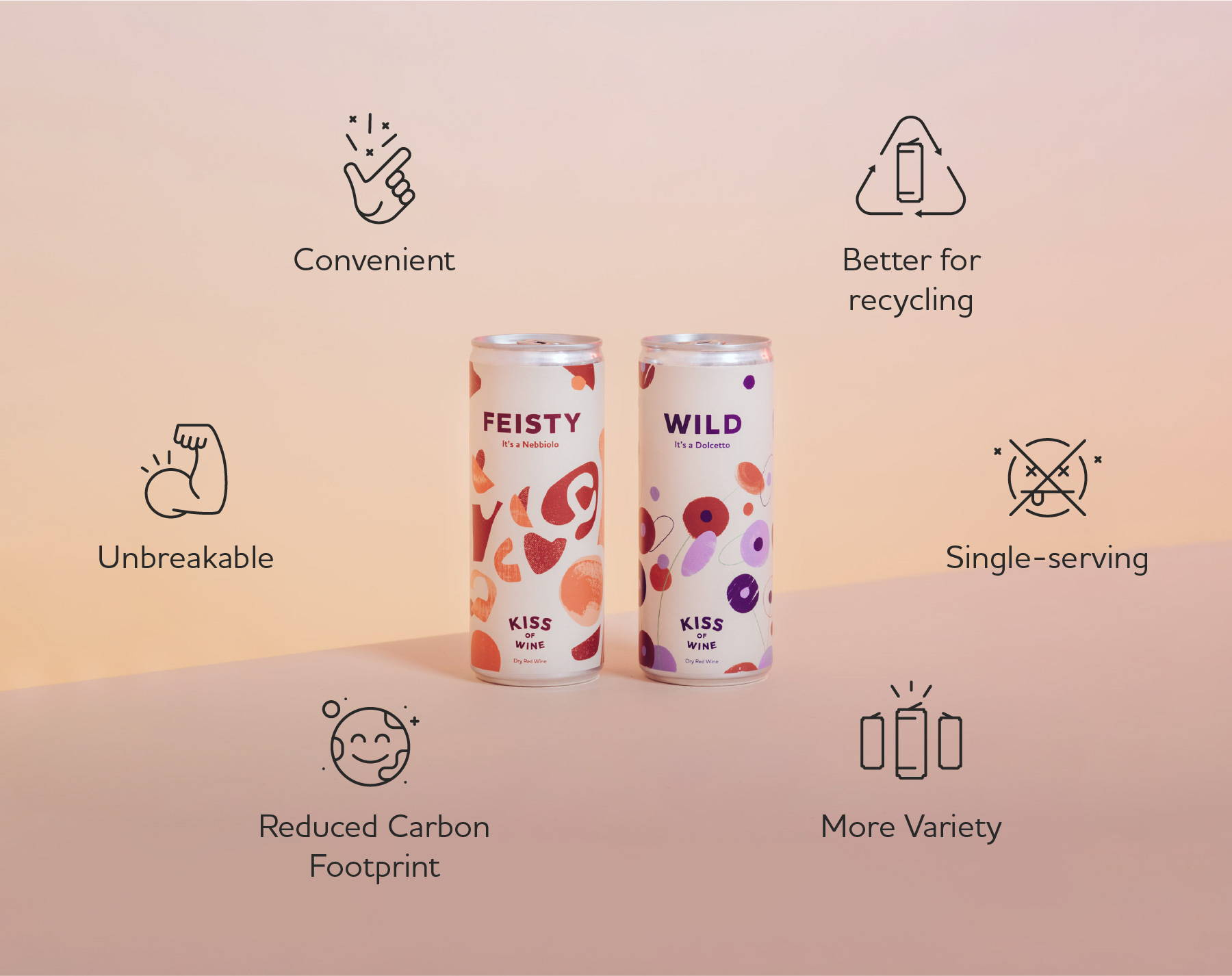 Feisty and Wild wine cans centred around the benefits of canning wine - convenient, better for recycling, single-serving, more variety, reduced carbon footprint and unbreakable.