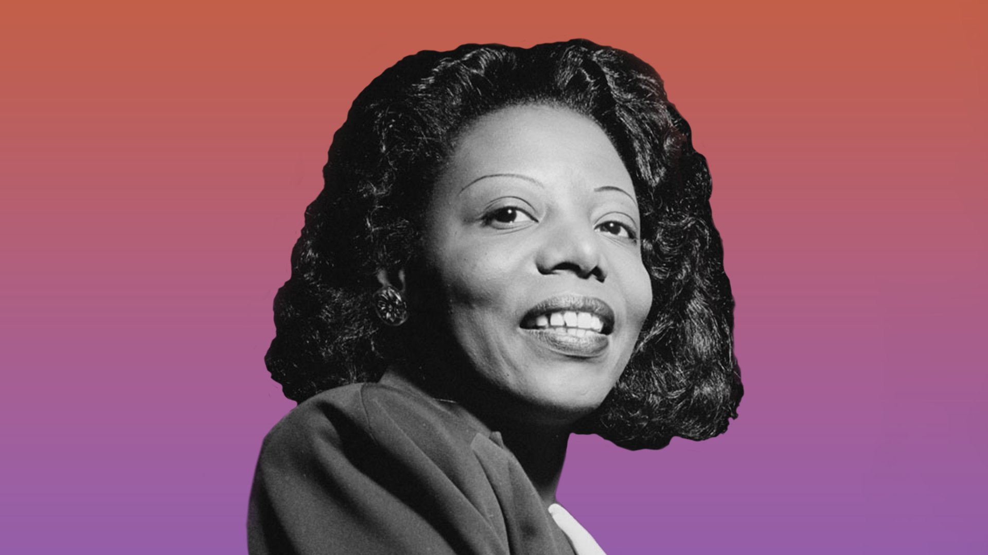 A black and white headshot photo of Mary Lou Williams on a pink gradient background