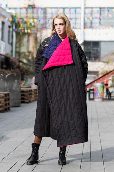 Двустороннее пальто-одеяло ручной выделки