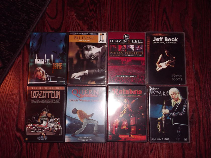 Lot of (14) Concert DVDs - (Rock & Jazz - None of them ever played)