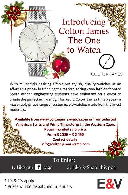 South Africa - With millennials desiring simple yet stylish, quality watches at an affordable price - but finding the market lacking - two fashion forward South African engineering students have embarked on a quest to create the perfect armcandy. The result: Colton James Timepieces – a reasonably priced range of customisable watches made from the finest materials.