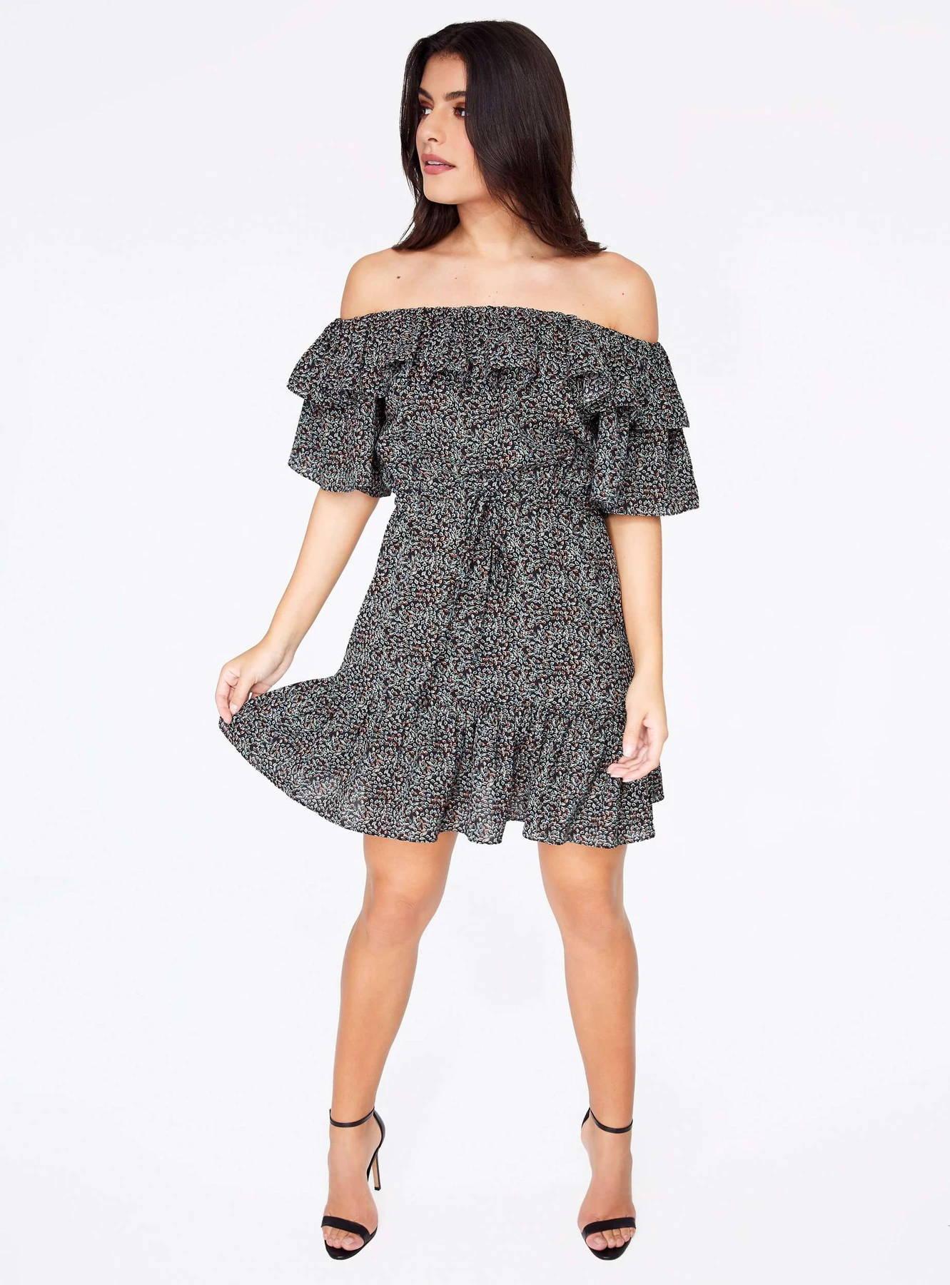 Black Floral Off the Shoulder Ruffle Dress