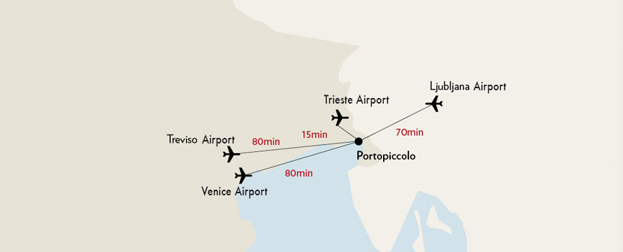 Hamburg - Location of the resort Portopiccolo on the Italian Adriatic coast and overview of the airports in the area.