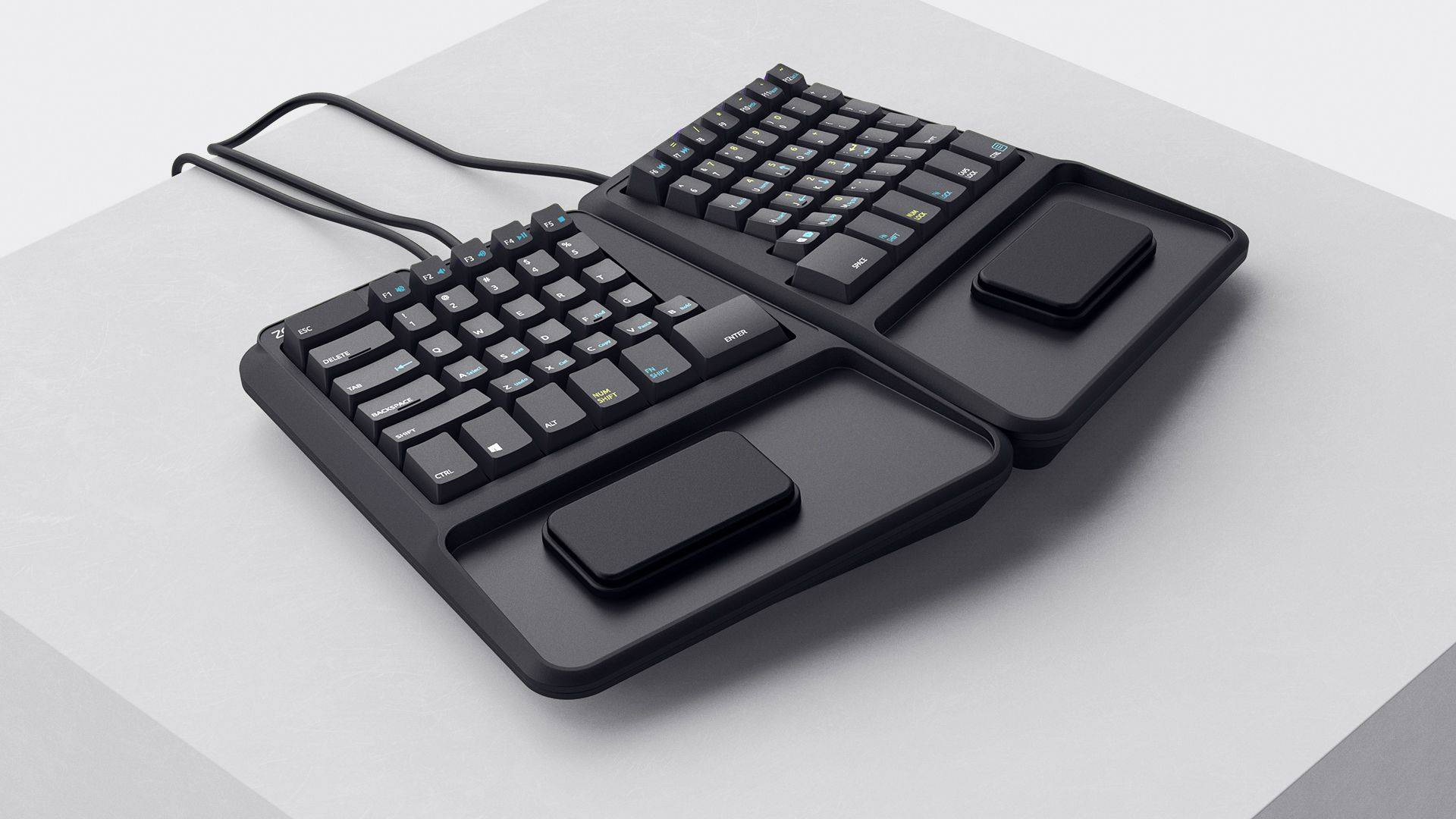 top hero view of Zergotech Freedom ergonomic keyboard mechanical keyboard