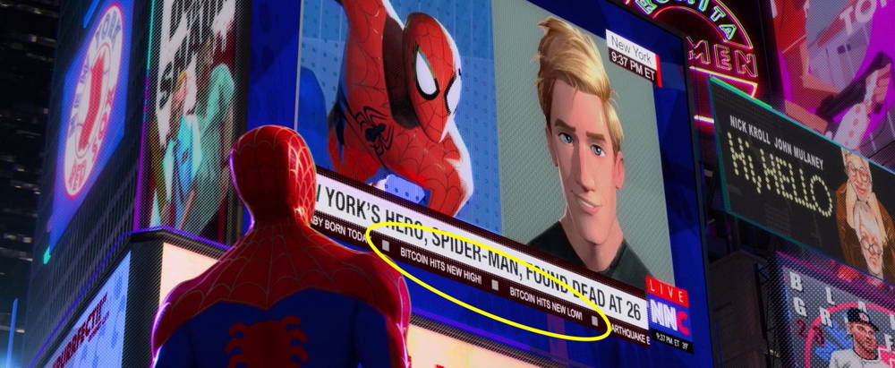 spiderman into the spider verse bitcoin reference