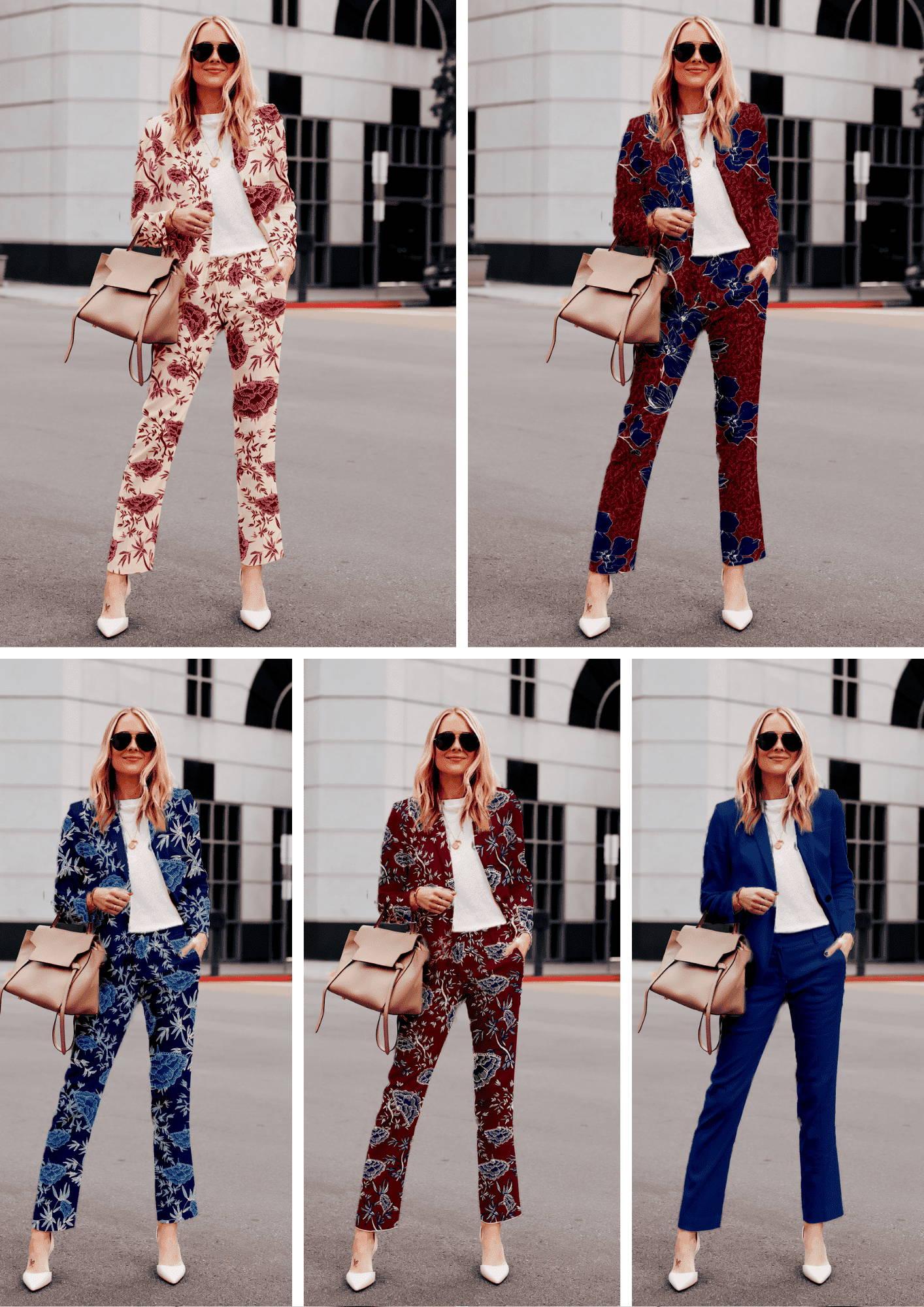 Les Looks une femme blonde avec les motifs exclusifs maison mixmélô