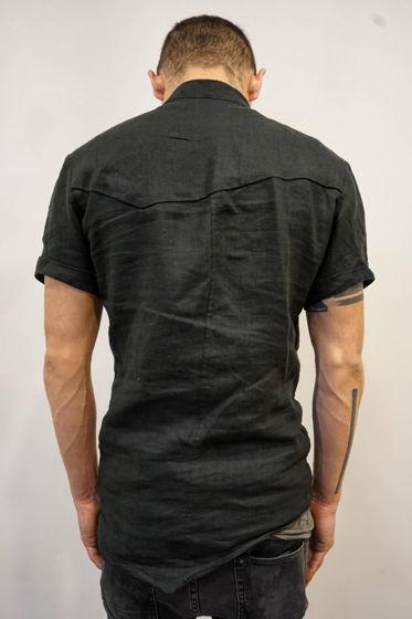 асимметричная рубашка льняная с коротким рукавом