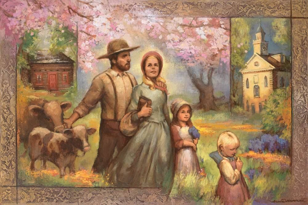 LDs art painting of a pioneer family.