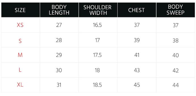 Men's Tops Size Guide – PENSHOPPE