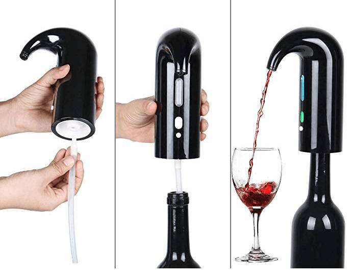 smart wine aerator, wine gifts for her, action shot 2