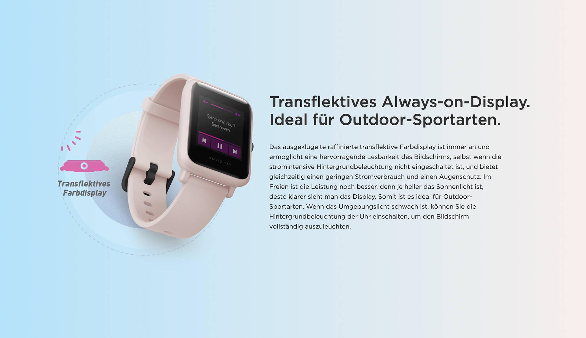 Amazfit DE - Amazfit Bip S Lite - Transflektives Always-on-Display | Ideal für Outdoor-Sportarten.