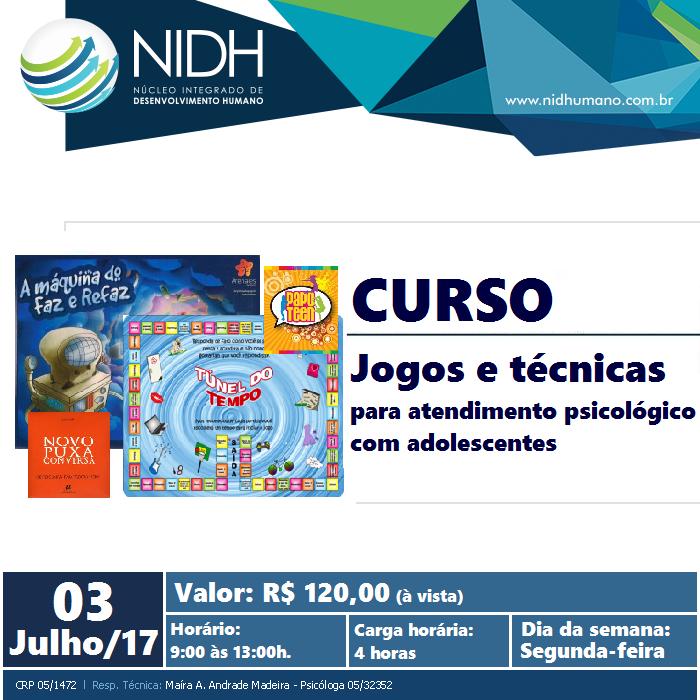 Curso: Jogos e técnicas para atendimento psicológico com adolescentes - NIDH