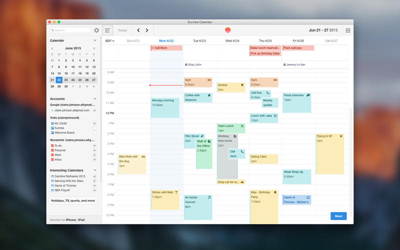Desktop Calendar Mac : Sunrise calendar what are the best apps for mac