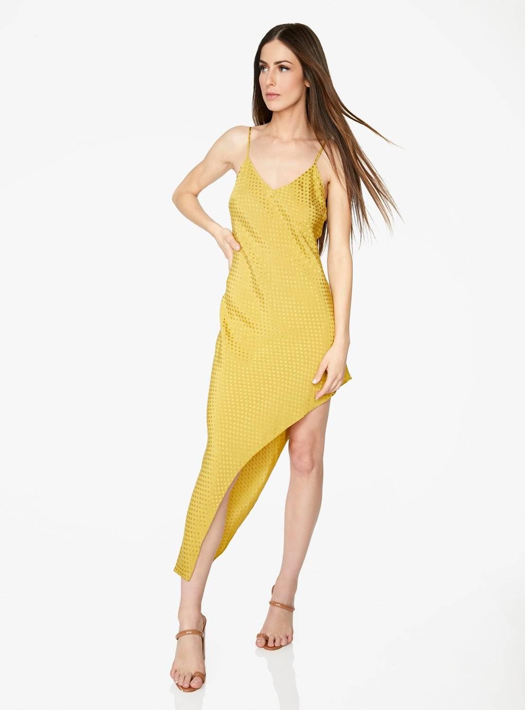 Gold Asymmetric Polka Dot Dress