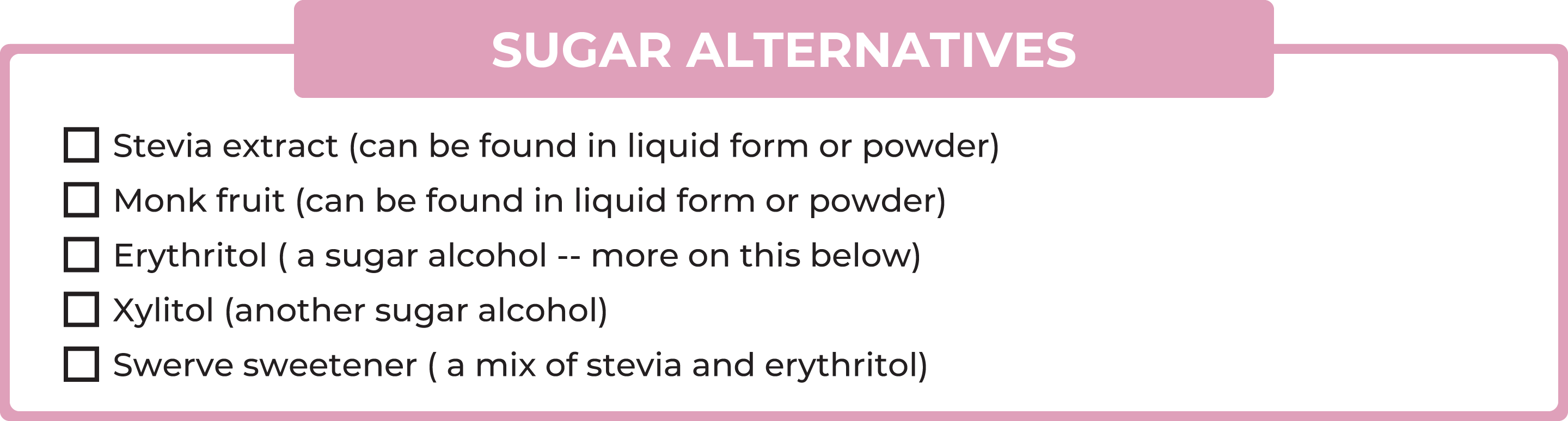 List of no-carb sugar alternatives