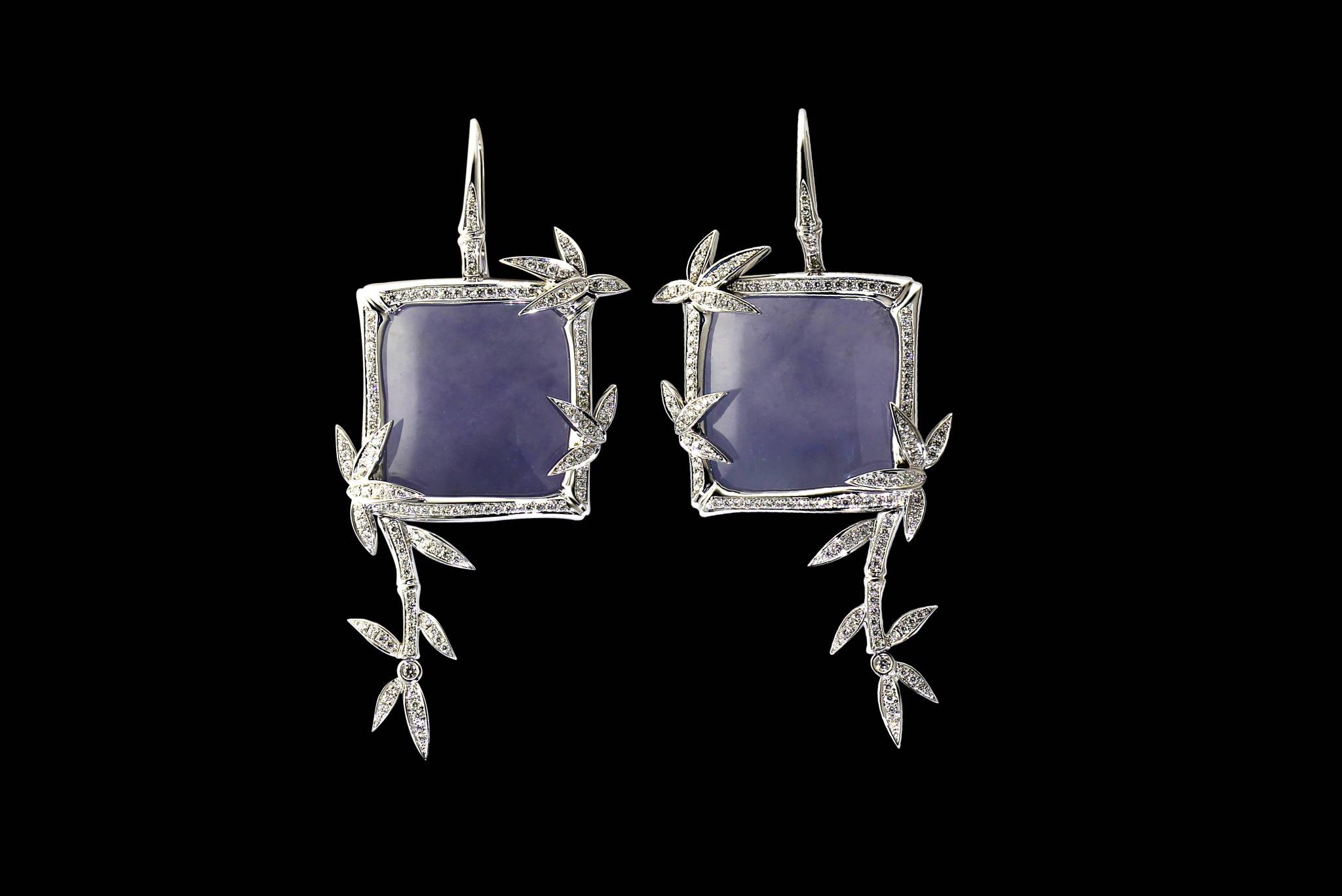 Lavender Jadeite bamboo earrings