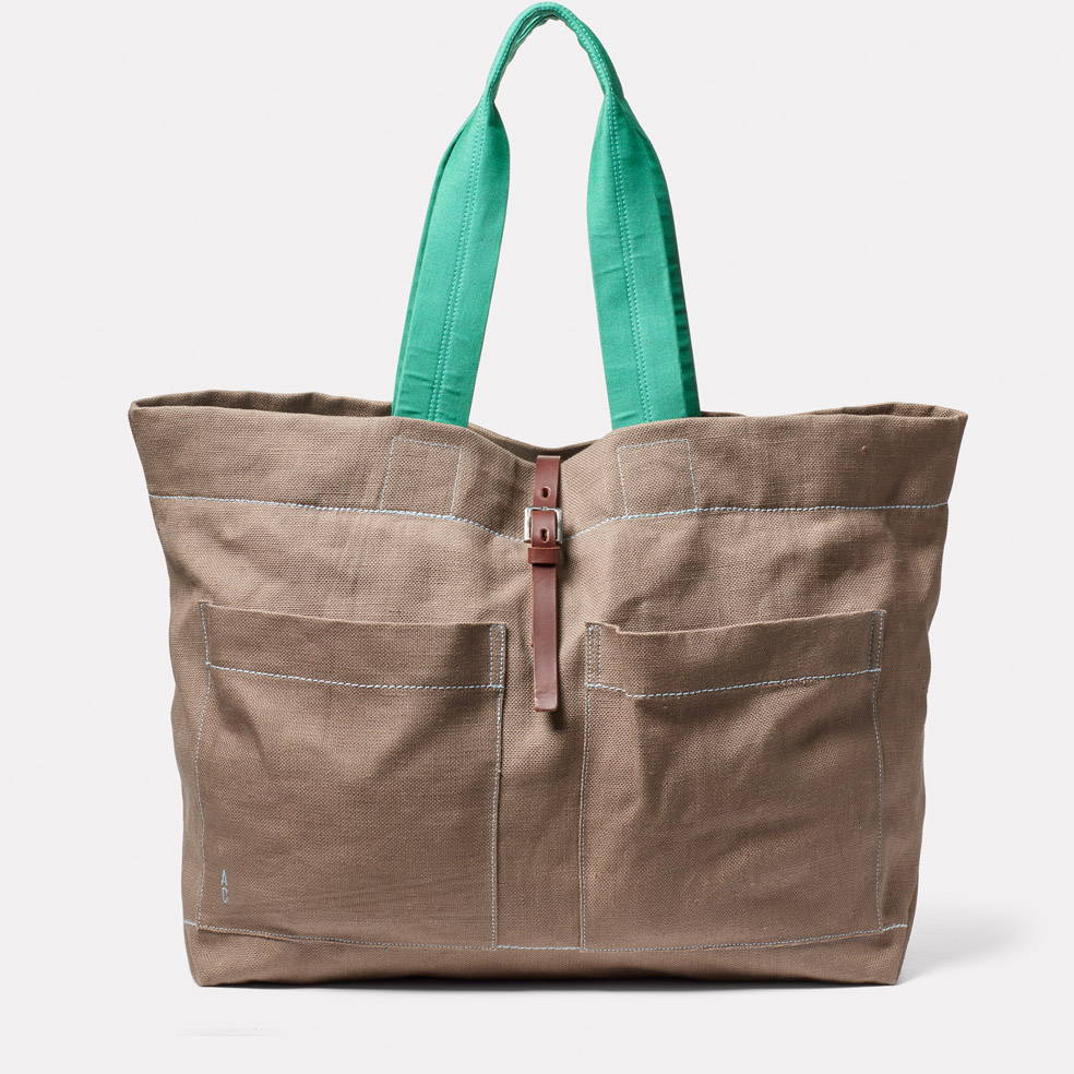 Front of the Tim Hemp Tote in Khaki