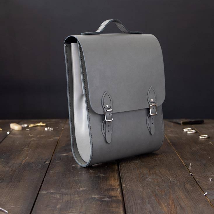 Grey Slimfit Leather Backpack