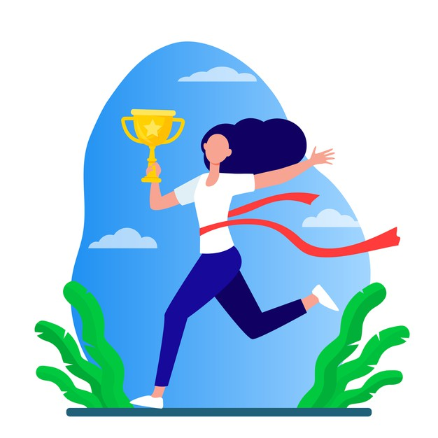 Running woman winning racing marathon leader holding cup crossing line with red ribbon flat vector illustration competition prize trophy 74855 8559