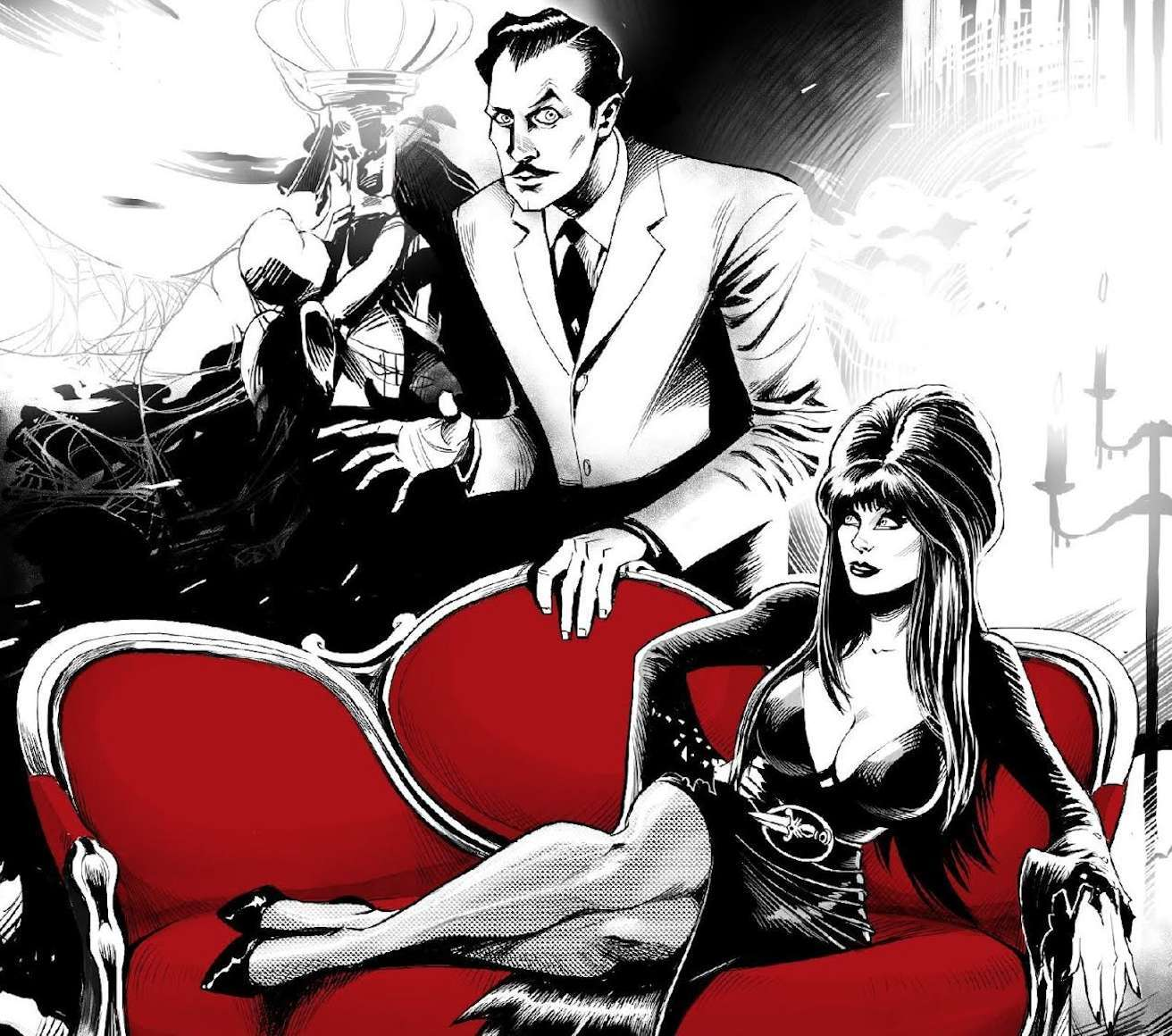 Illustration from the comic where Elvira is lying on a dark red couch posing while vincent price is behind the couch with a suit and a spooky pose. Aside from the couch everything else is in black and white.