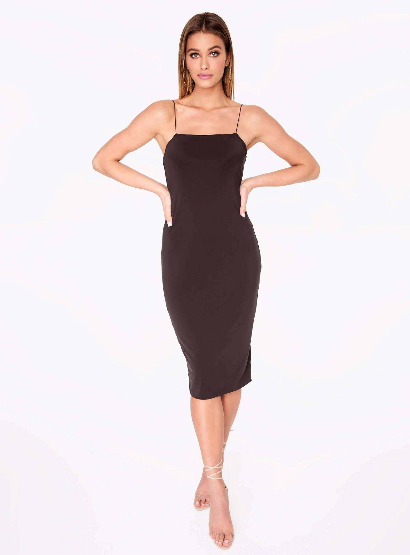 HeyYou Basic Mocha Midi Bodycon Dress