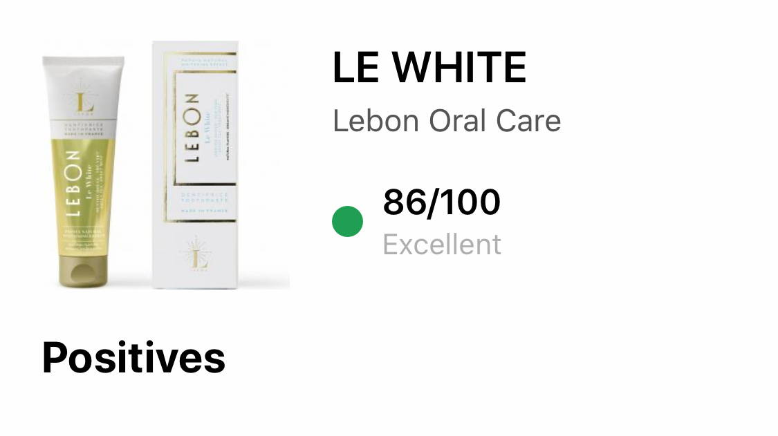 LEBON toothpaste review by YUKA for Le White 86/100