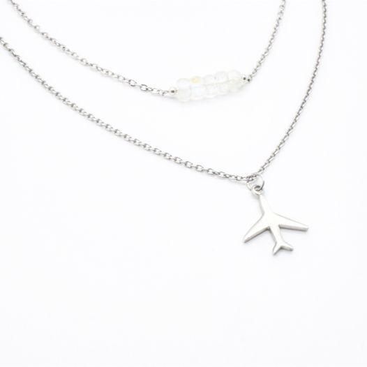 Комплект подвесок в серебре, лунный камень, самолет