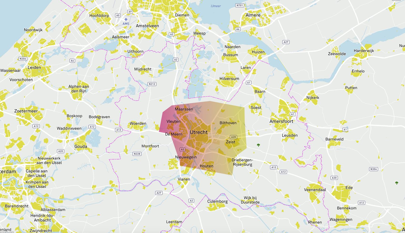 Onderzoeksgebied Utrecht voor de beide onderzoeksprojecten van Warmtebron Utrecht