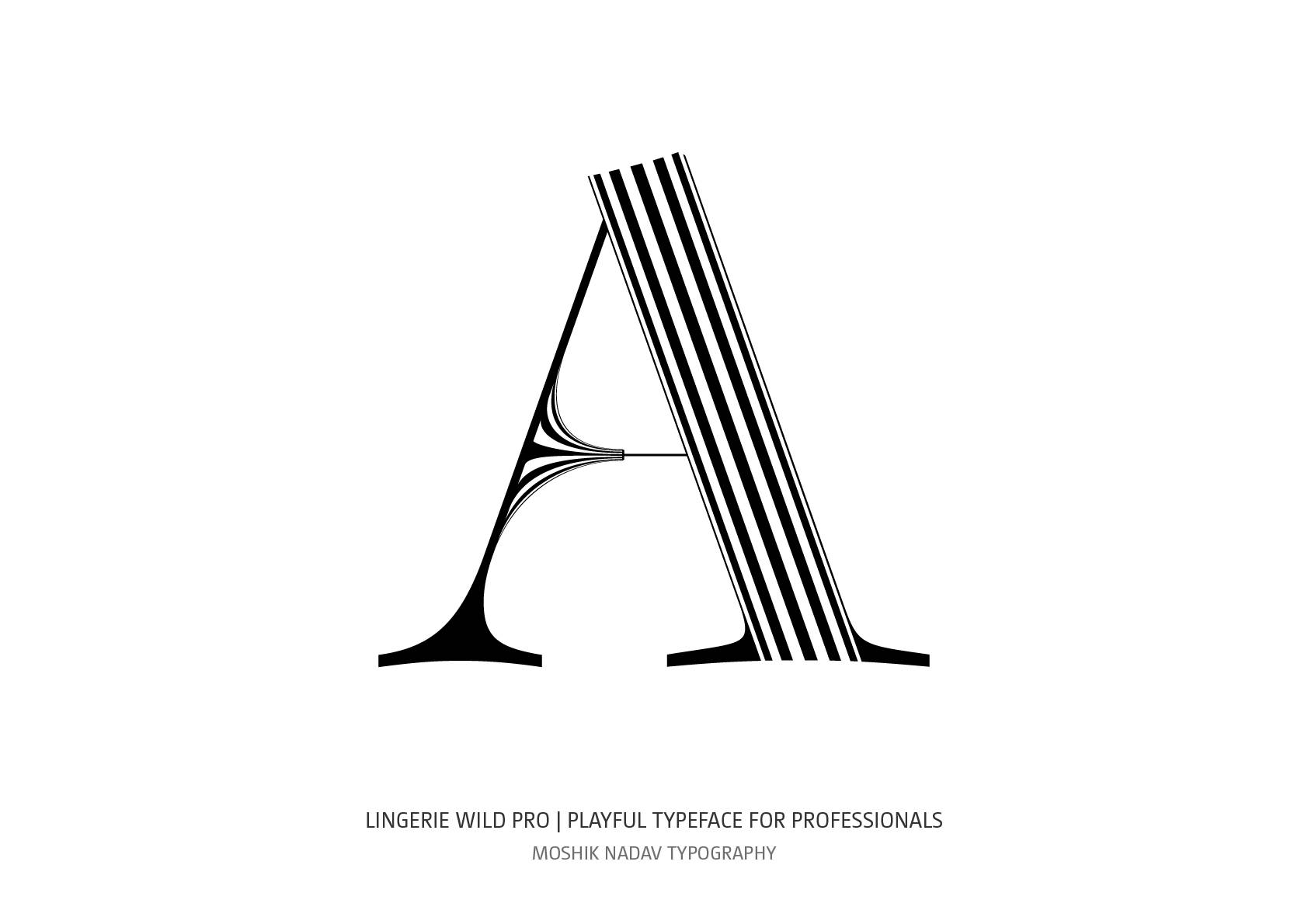 Lingerie Wild Pro uppercase A Typeface by Moshik Nadav Fashion Typography