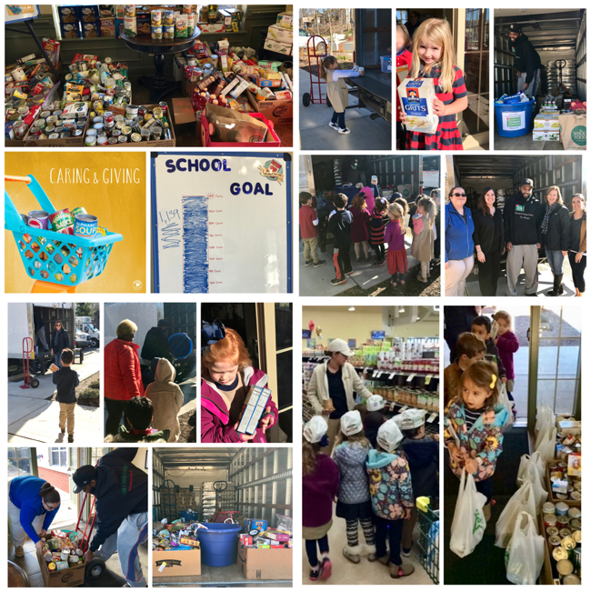 Caring Giving Food Drive Students