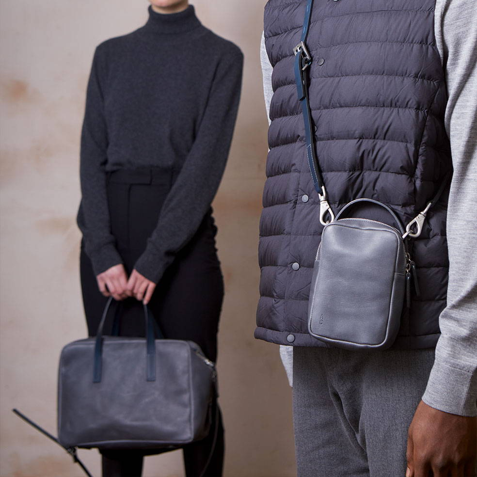Ally Capellino Hurley and Jago leather handbags in Dark skies