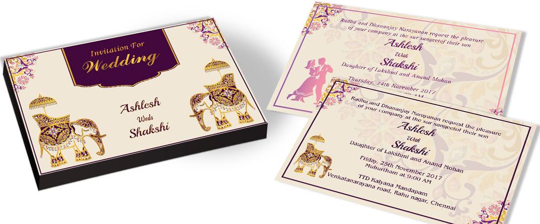 Golden Elephant Wedding Invitation