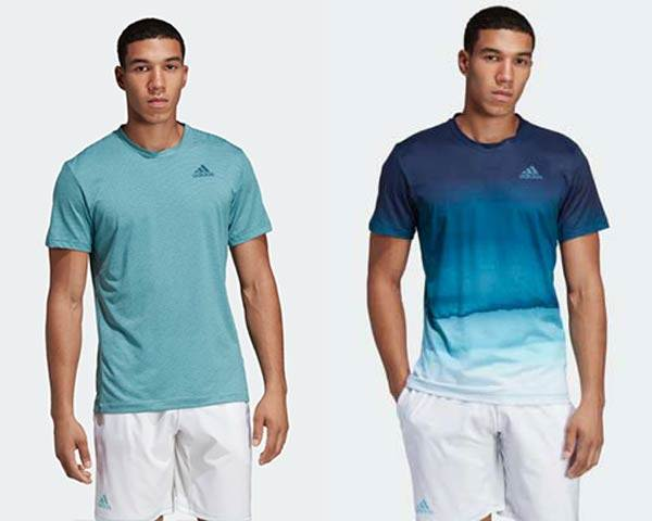Man wearing light turquoise striped recycled polyester sports t-shirt and Man wearing running t-shirt with blue gradient pattern and white shorts from sustainable activewear brand Adidas Parley