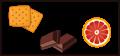 Tonen van biscuit, chocola en citrus