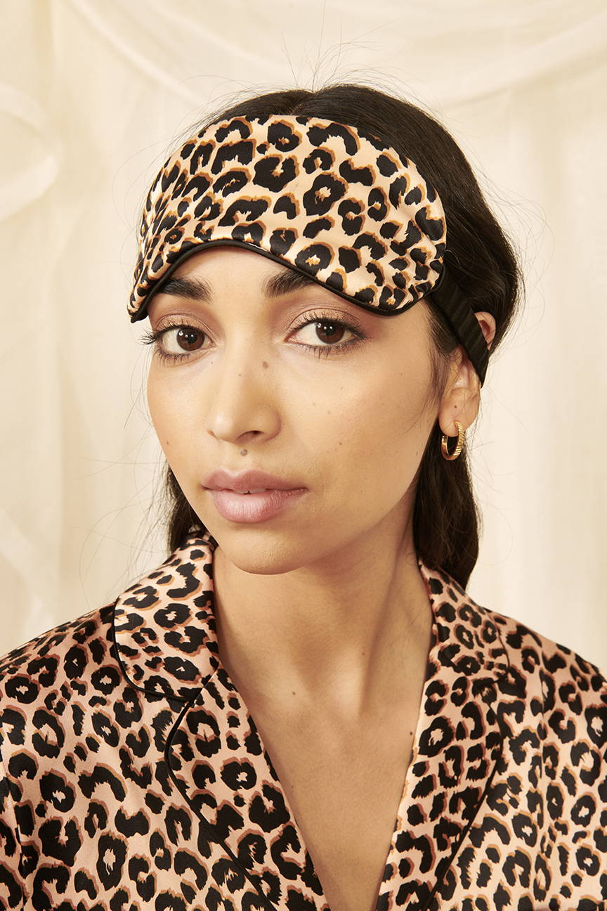Leopard Print Silk Eye Mask | YOLKE